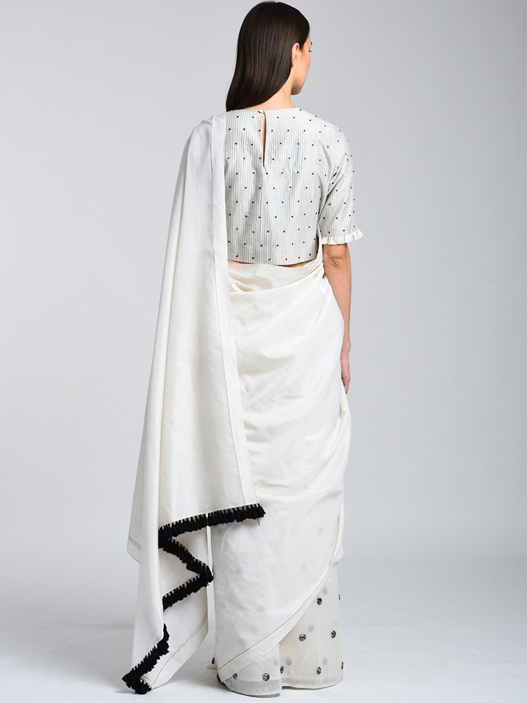 Monochrome Saree With Embroidery back