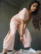 Sturdy handloom denim jumpsuit hand dyed with flowers - Jumpsuits - IKKIVI - Shop Sustainable & Ethical Fashion