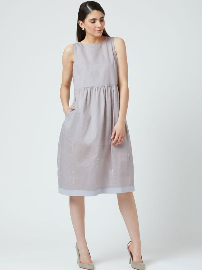 Beautiful grey Hand Embroidery Dress with gathered waist and side pockets - DRESSES - IKKIVI - Shop Sustainable & Ethical Fashion