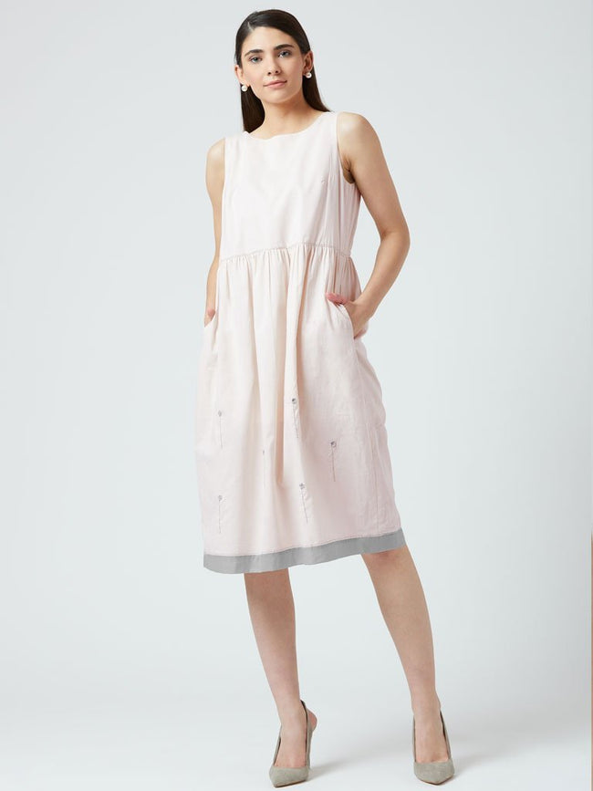 Hand made embroidery Dress with gathered waist and side pockets - DRESSES - IKKIVI - Shop Sustainable & Ethical Fashion