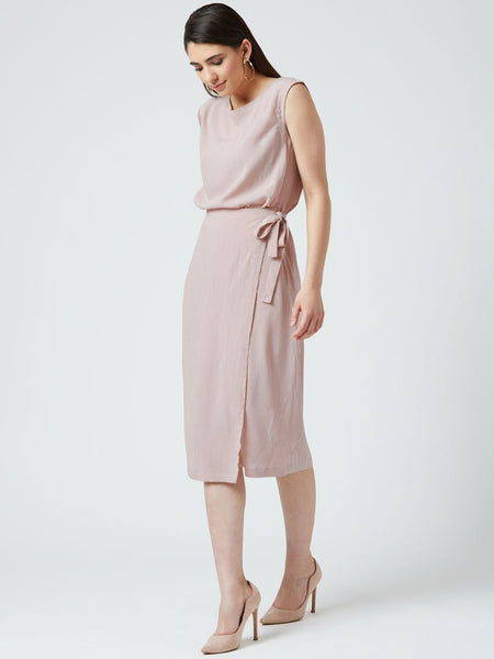 Business Beige casual knee length tunic with side pockets - DRESSES - IKKIVI - Shop Sustainable & Ethical Fashion