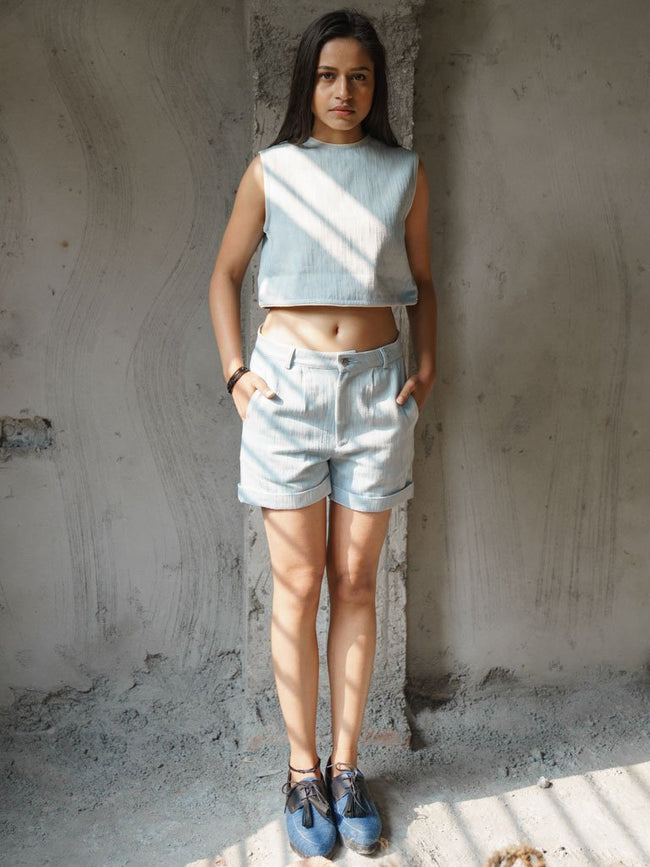 Khadi denim Shorts with folded hemline - SKIRTS & TROUSERS - IKKIVI - Shop Sustainable & Ethical Fashion