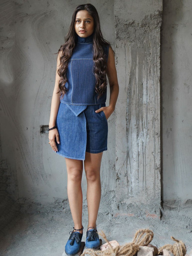 Wrap-style silhouette shorts in handloom denim - SKIRTS & TROUSERS - IKKIVI - Shop Sustainable & Ethical Fashion