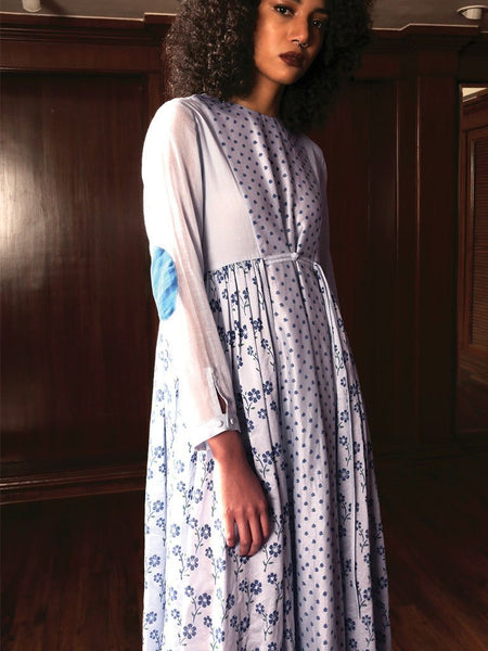Light blue Handwoven jamdani khadi maxi dress