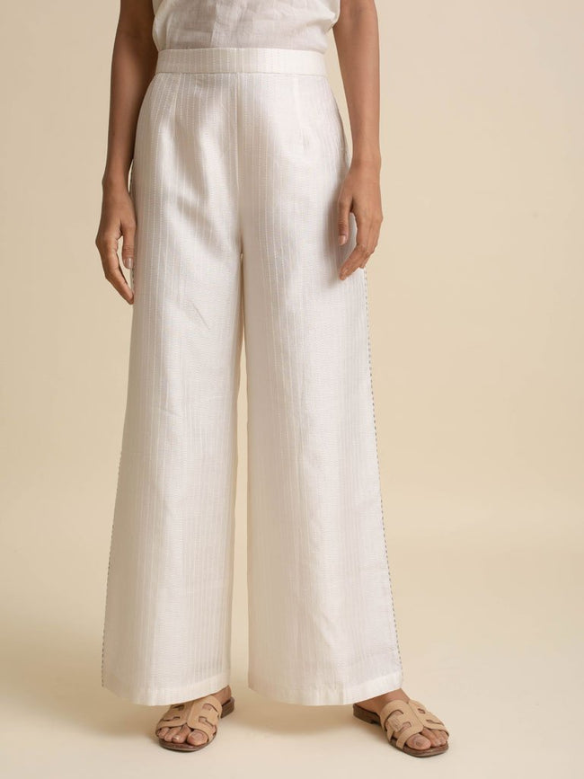 Ivory Wide Leg Pant - PANTS - IKKIVI - Shop Sustainable & Ethical Fashion
