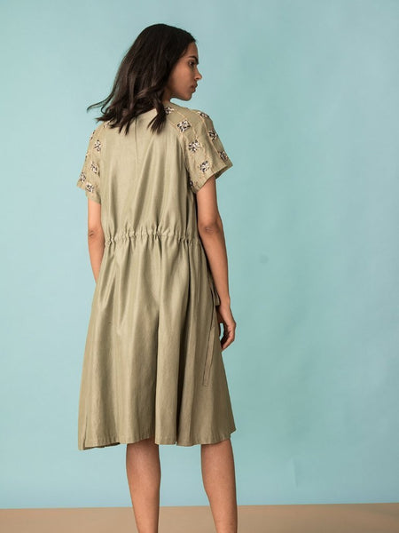 A-Line Dress with Drawstrings back