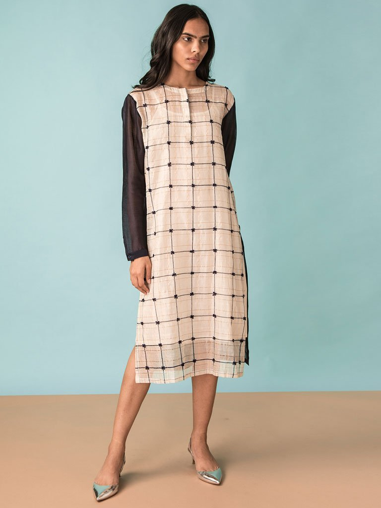 White handwoven chanderi with zari checkered colour blocked tunic image 1