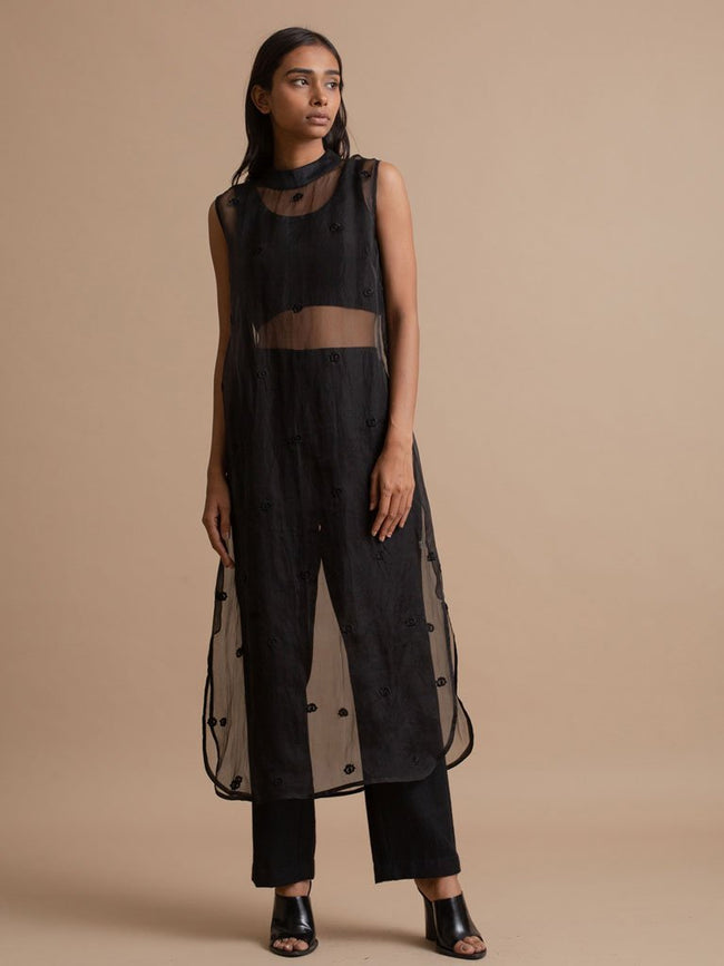 Sheer Embroidered Dress - DRESSES - IKKIVI - Shop Sustainable & Ethical Fashion