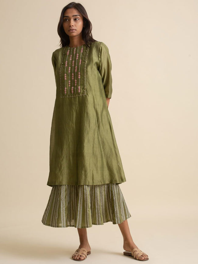 Embroidered Yoke Dress - DRESS - IKKIVI - Shop Sustainable & Ethical Fashion