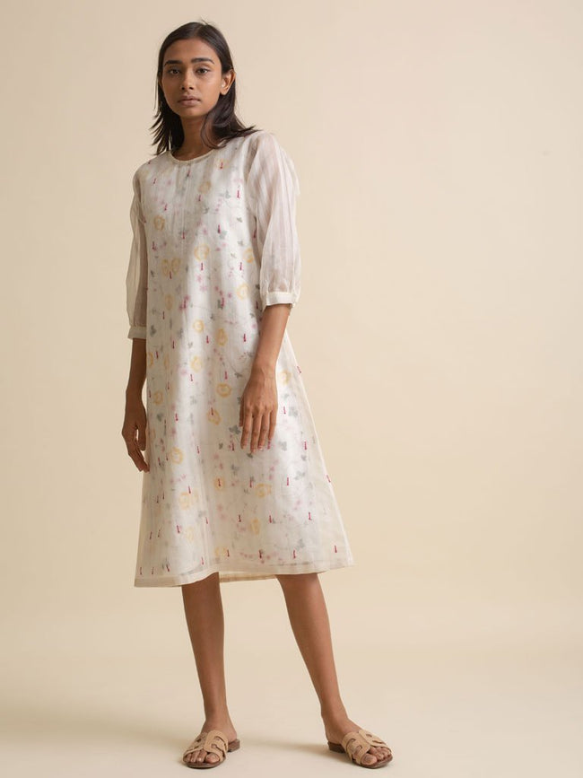 Ivory Floral Dress - DRESS - IKKIVI - Shop Sustainable & Ethical Fashion