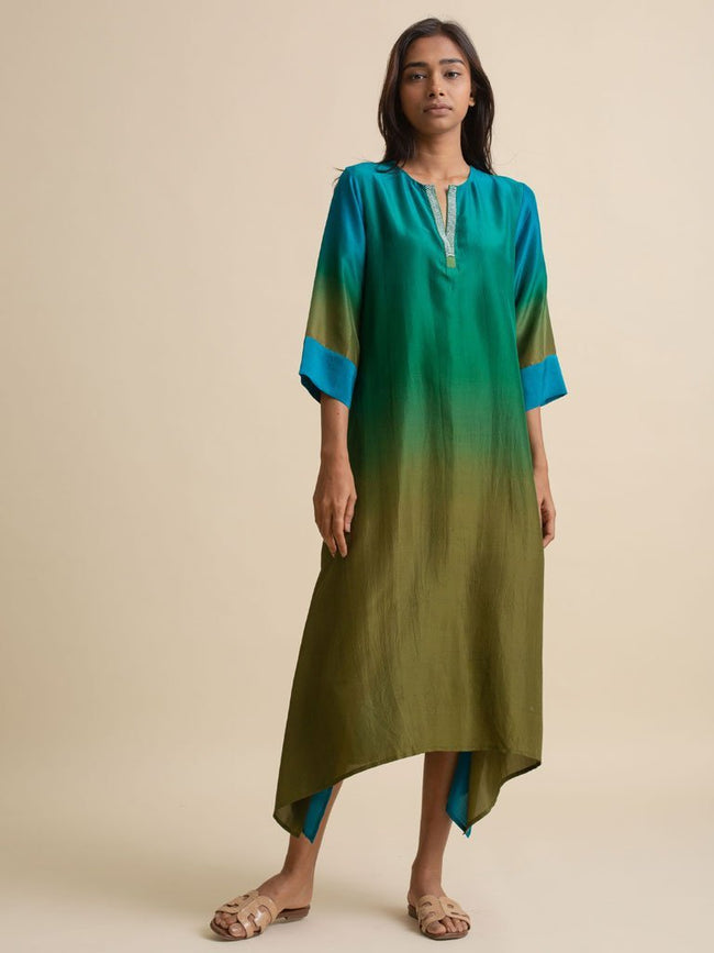 Ombre Asymmetric Kurta - DRESS/KURTA - IKKIVI - Shop Sustainable & Ethical Fashion