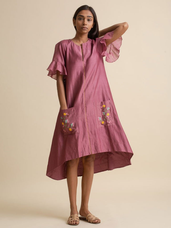 Pocket Embroidery Dress - DRESS - IKKIVI - Shop Sustainable & Ethical Fashion
