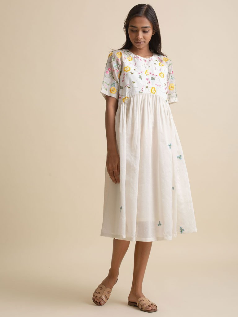 Embroidered Gather Dress - DRESS - IKKIVI - Shop Sustainable & Ethical Fashion