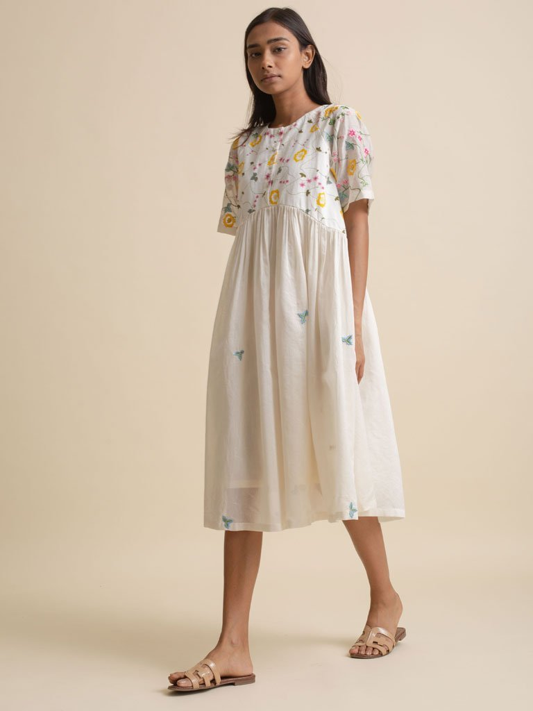 Embroidered Gather Dress - DRESSES - IKKIVI - Shop Sustainable & Ethical Fashion