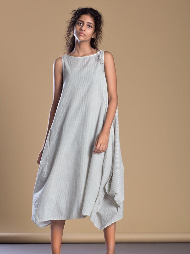 White Pinstripe Vari Aakaar - DRESSES - IKKIVI - Shop Sustainable & Ethical Fashion