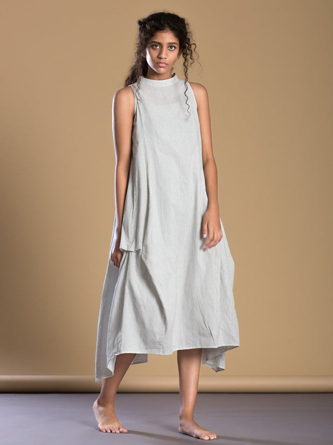 White Pinstripes New Kalidaar Aakaar - DRESSES - IKKIVI - Shop Sustainable & Ethical Fashion