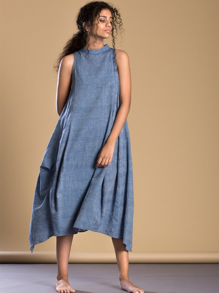 Blue New Kalidaar Aakaar - DRESSES - IKKIVI - Shop Sustainable & Ethical Fashion
