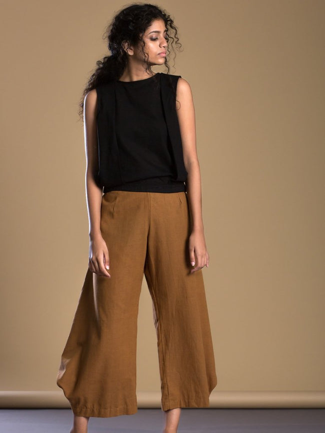 Tan Brown Cowl Pant Aakaar - SKIRTS & TROUSERS - IKKIVI - Shop Sustainable & Ethical Fashion