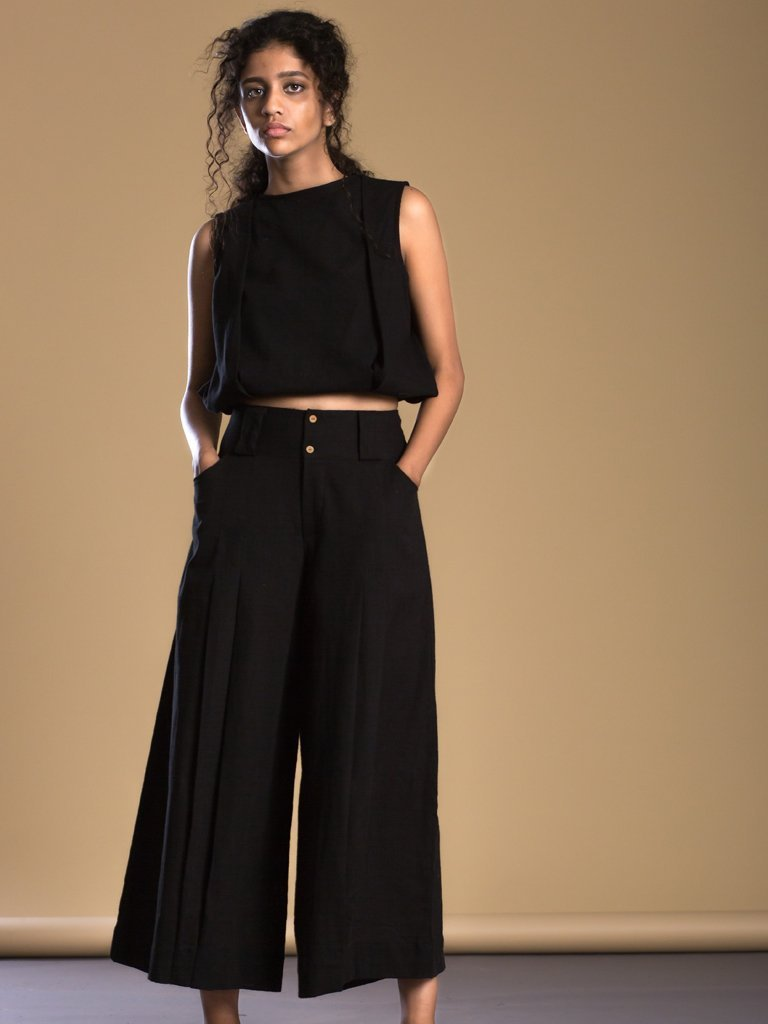 Black Pleated Pant Aakaar - SKIRTS & TROUSERS - IKKIVI - Shop Sustainable & Ethical Fashion