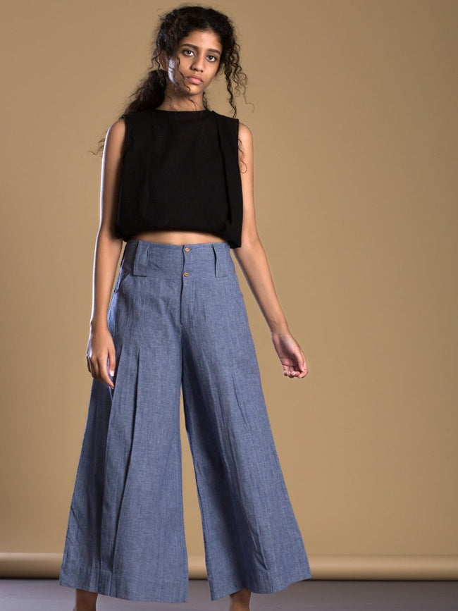 Blue Pleated Pant Aakaar