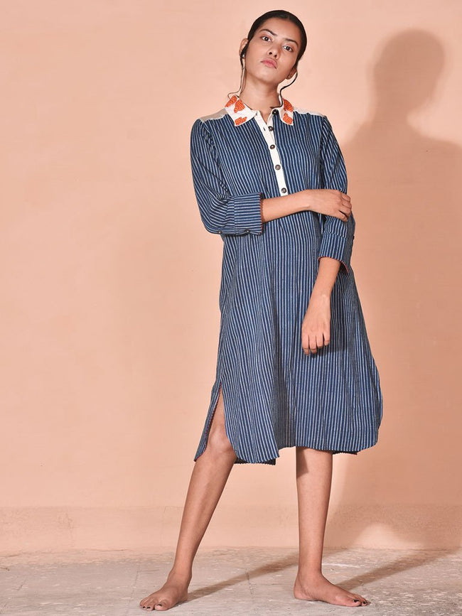 Blue sustainable handwoven cotton khadi and chanderi shirt image