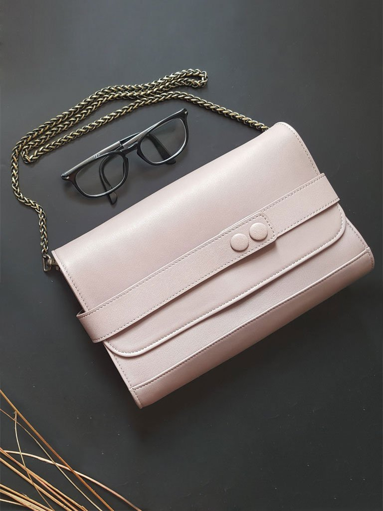 light pink sustainable upcycled leather bag image