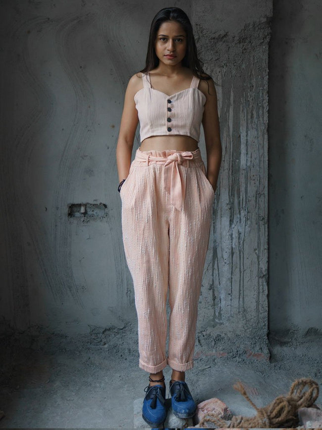 Khadi denim  paper bag trousers - SKIRTS & TROUSERS - IKKIVI - Shop Sustainable & Ethical Fashion