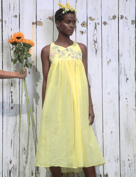 yellow sustainable cotton and mul mul frills dress image