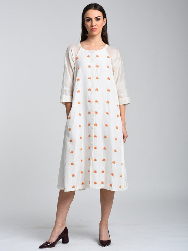 Raglan Sleeve Dress With Side Gathers - DRESSES - IKKIVI - Shop Sustainable & Ethical Fashion