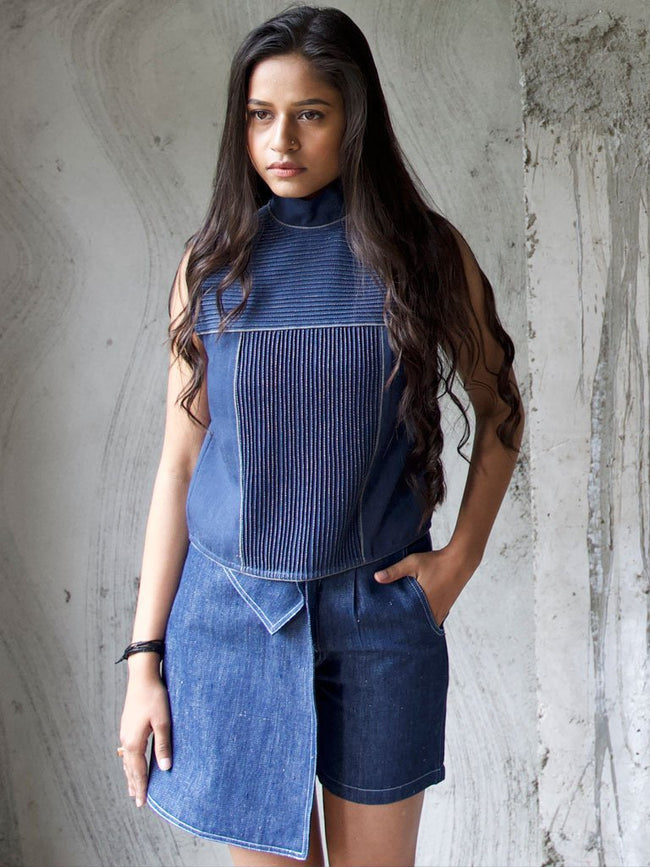 Handloom denim Top with pleated detail - TOPS - IKKIVI - Shop Sustainable & Ethical Fashion