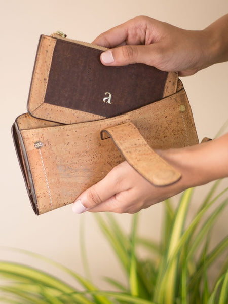 Kim Clutch Light Brown Wallet - BAGS - IKKIVI - Shop Sustainable & Ethical Fashion
