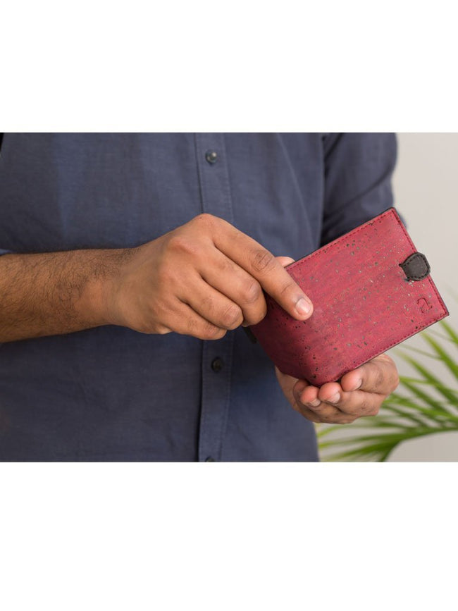 Arden Maroon Minimal Wallet - BAGS - IKKIVI - Shop Sustainable & Ethical Fashion