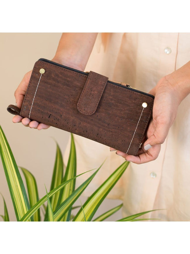 Kim Clutch Brown Blue Wallet - BAGS - IKKIVI - Shop Sustainable & Ethical Fashion
