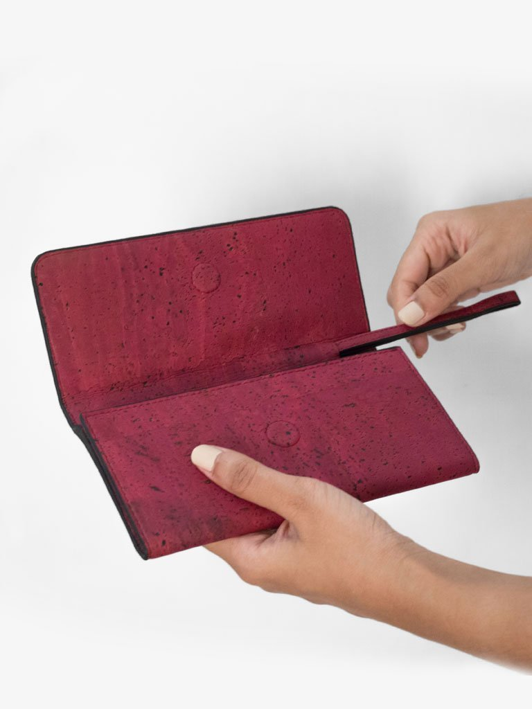 Ela Trifold Maroon Wallet - BAGS - IKKIVI - Shop Sustainable & Ethical Fashion