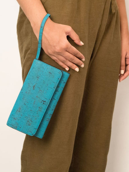 Ela Trifold Teal Wallet - BAGS - IKKIVI - Shop Sustainable & Ethical Fashion