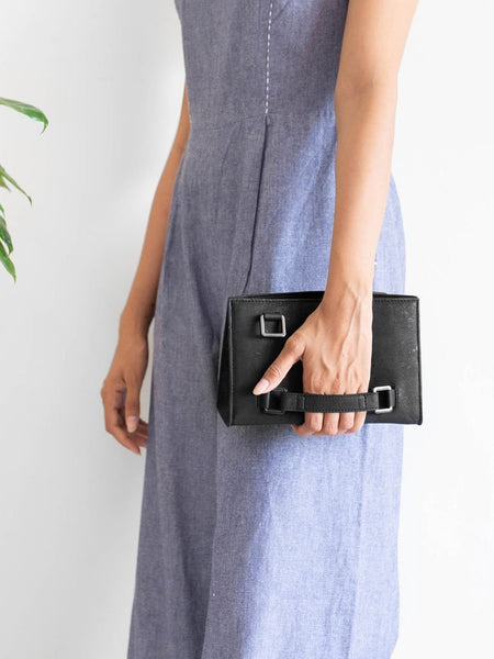 Palm Black Clutch Bag - BAGS - IKKIVI - Shop Sustainable & Ethical Fashion