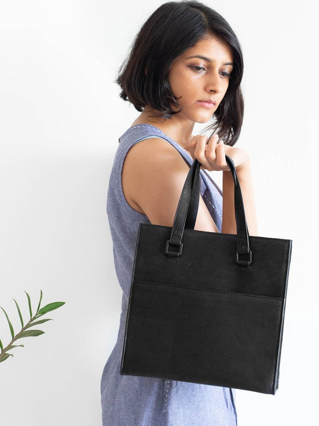 Dawn Midi Black Tote Bag - BAGS - IKKIVI - Shop Sustainable & Ethical Fashion