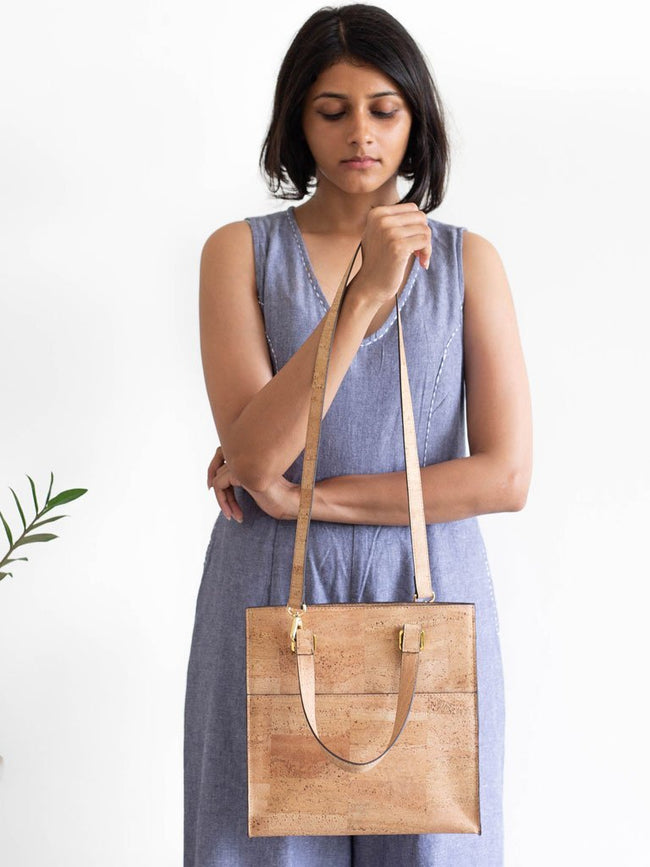 Dawn Midi Natural Tote Bag - BAGS - IKKIVI - Shop Sustainable & Ethical Fashion