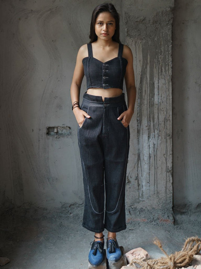 Conventional bra top with chambray piping details - TOPS - IKKIVI - Shop Sustainable & Ethical Fashion