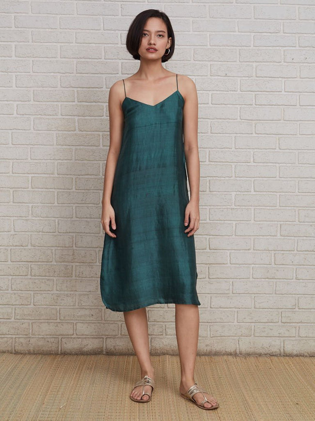 Luxurious double-layer of pure handloom silk V-neck dress - DRESSES - IKKIVI - Shop Sustainable & Ethical Fashion