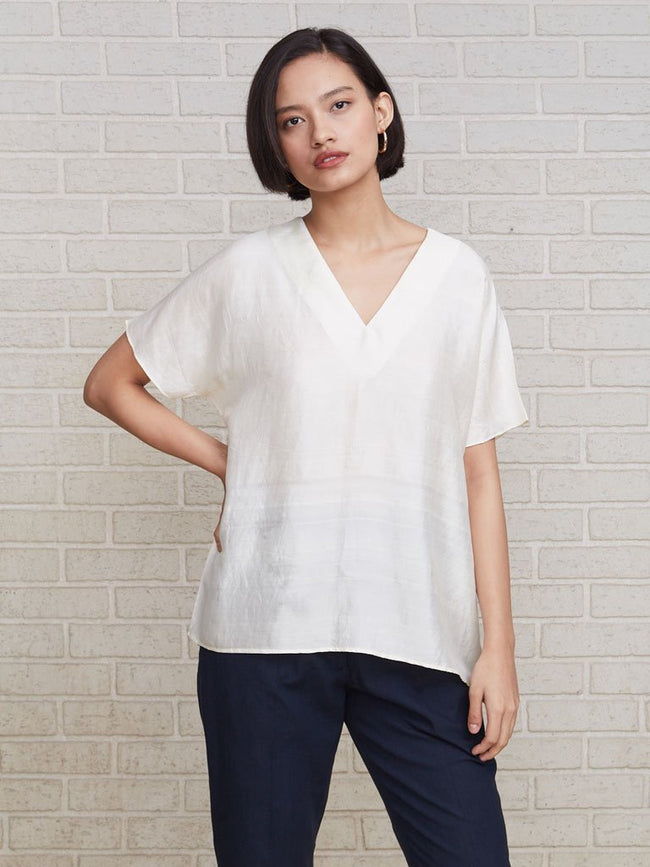 Luxurious pure handloom silk chic half-sleeved top - TOPS - IKKIVI - Shop Sustainable & Ethical Fashion