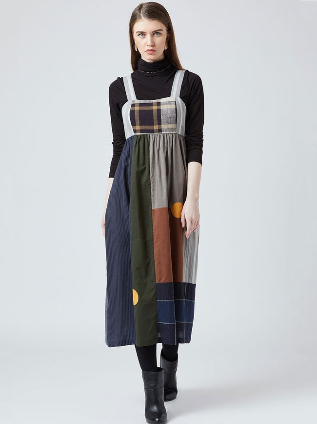 Multicolour patchwork and adjustable back bow Mid-calf length dress - DRESSES - IKKIVI - Shop Sustainable & Ethical Fashion