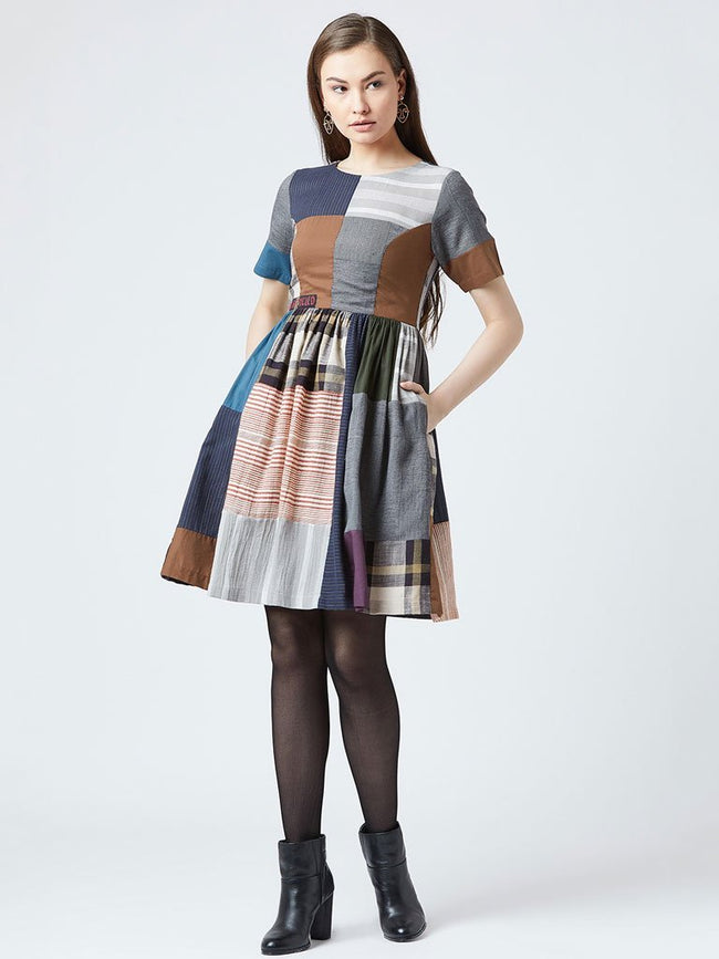 Oversized multicolor patchwork dress with cowl gathers - DRESSES - IKKIVI - Shop Sustainable & Ethical Fashion