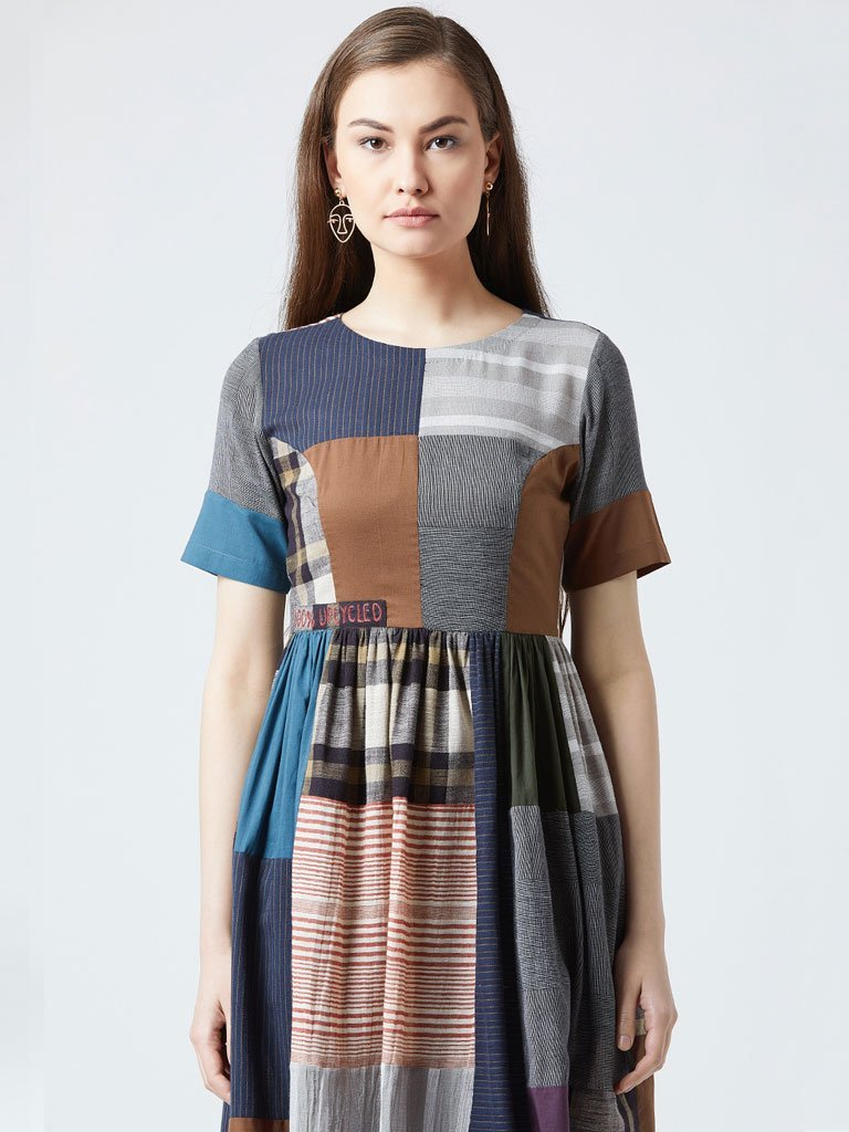 All Patch Gathered Dress - DRESSES - IKKIVI - Shop Sustainable & Ethical Fashion
