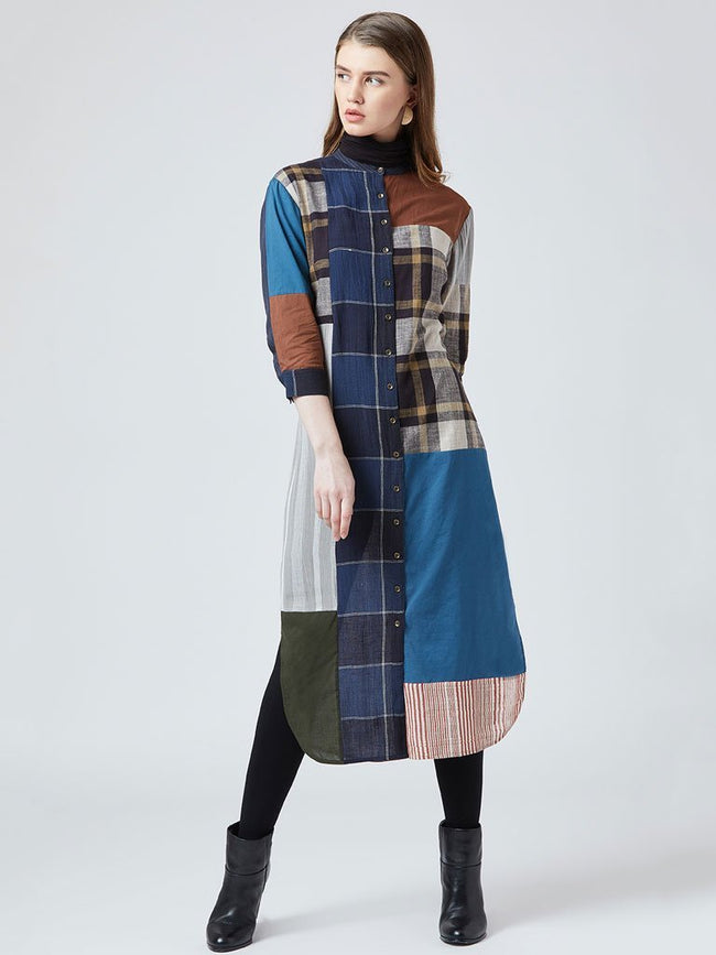 Quirky patchwork Button-down style long tunic - DRESSES - IKKIVI - Shop Sustainable & Ethical Fashion