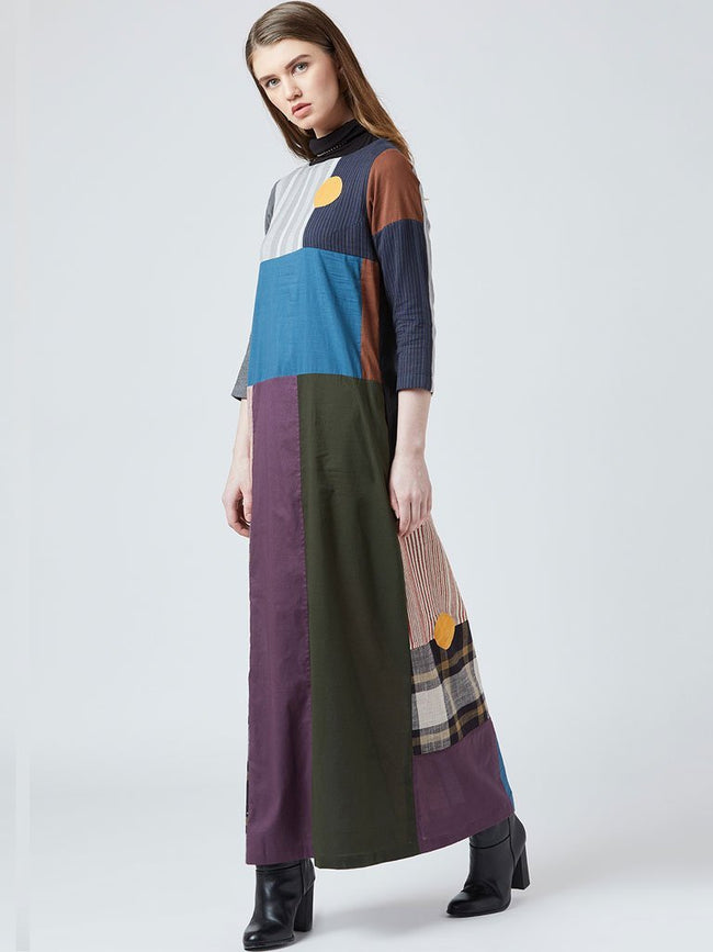Multi coloured pattern with embroidered slogan detail on the back - DRESSES - IKKIVI - Shop Sustainable & Ethical Fashion