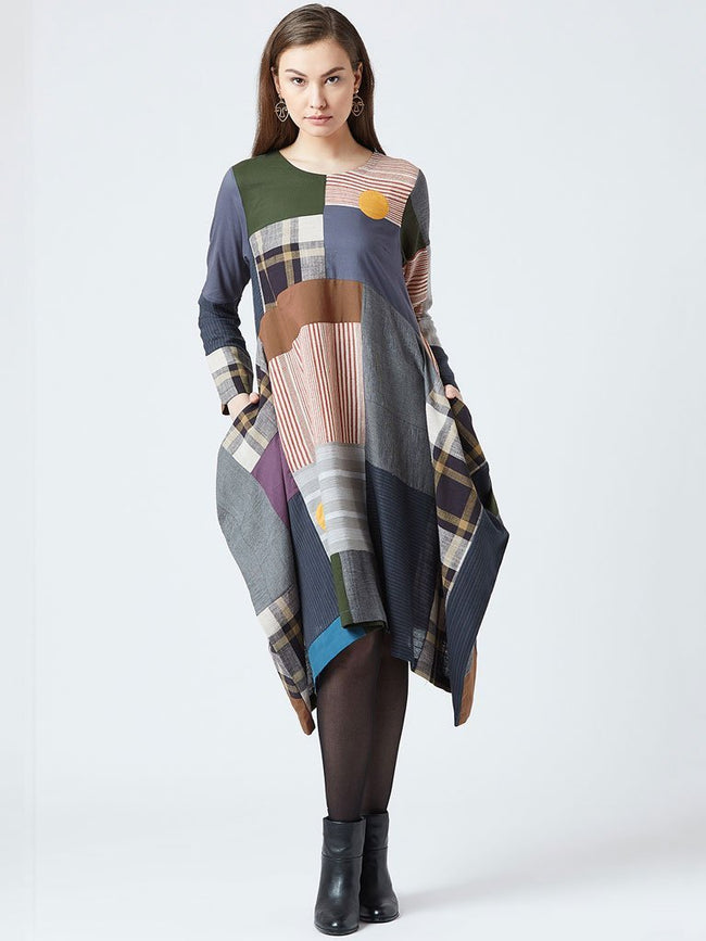 Oversized multicolour patchwork Dress with cowl gathers on the sides - DRESSES - IKKIVI - Shop Sustainable & Ethical Fashion