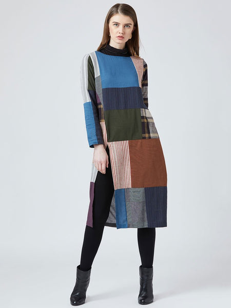 Up-cycled multi color patchwork front slit Tunic - DRESSES - IKKIVI - Shop Sustainable & Ethical Fashion