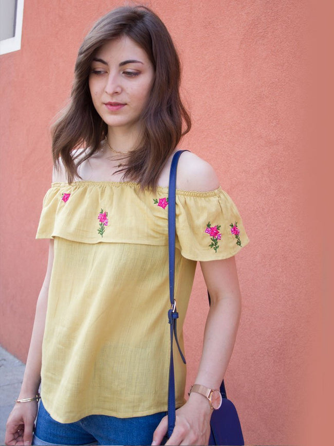 Anar Yellow Cold Shoulder Top