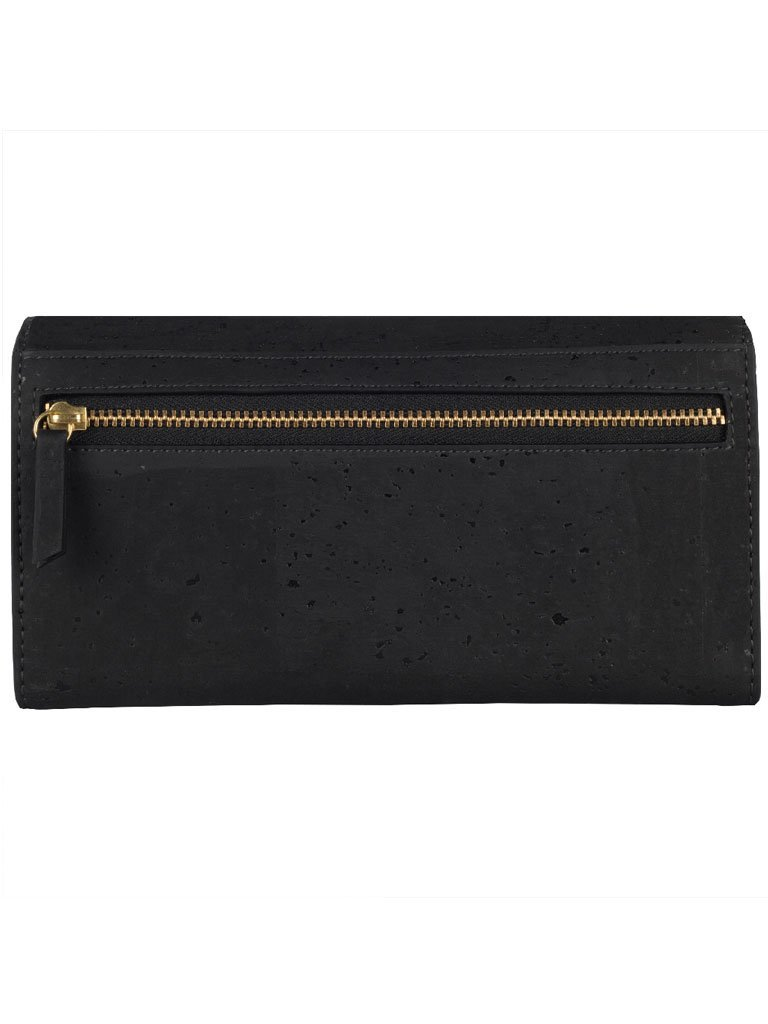 Ela Trifold Black Wallet back